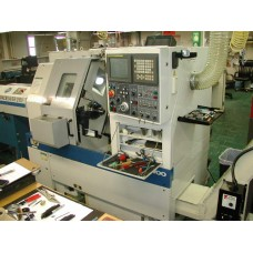 DAEWOO PUMA MODEL 150G CNC TURNING CENTER WITH 6 STATION TOOL CARRIAGE FANUC CONTROL SMW SPACESAVER 2100 BAR FEED AND TURBO SYSTEMS CHIP CONVEYOR, 2009
