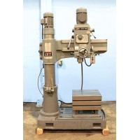 "JET 2.5' x 8"" COLUMN RADIAL ARM DRILL MODEL JRD-750 POWER ELEVATION 2 HP 4 MORSE TAPER T-SLOTTED TABLE AND BASE"
