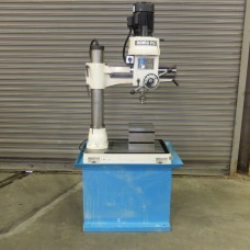 RONG FU MINI RADIAL ARM DRILL WITH R8 SPINDLE BOX TABLE AND FACTORY STAND MODEL RF35 230 VOLT SINGLE PHASE LIKE NEW CONDITION