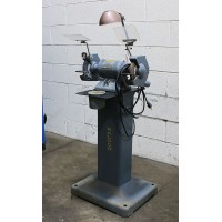 "BALDOR PEDISTAL GRINDER MODEL 632E 6"" x 1/3 HP ON HEAVY DUTY BALDOR FACTORY BASE USA"