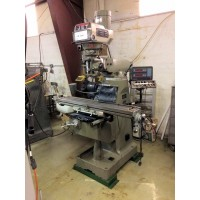 """JET JTM-4VS VERTICAL MILLING MACHINE VARIABLE SPEED 9"""" x 49"""" TABLE ACU-RITE 2-AXIS DIGITAL READ OUT AND SERVO LONGITUDINAL POWER FEED"""