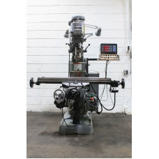 "BRIDGEPORT VERTICAL MILLING MACHINE WITH 9"" x 48"" TABLE, 3-AXIS DIGITAL READ OUT, POWER FEED AND POWER CROSS FEED AND POWER KNEE FEED 1990"