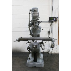 """BRIDGEPORT 1 HP STEP PULLEY TYPE VERTICAL MILLING MACHINE WITH 9"""" x 42"""" TABLE AND NEWALL 2-AXIS DIGITAL READ OUT EXCELLENT CONDITION"""