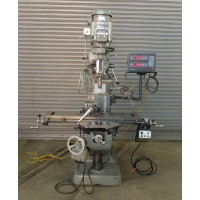 """BRIDGEPORT VERTICAL MILLING MACHINE 2 HP VARIABLE SPEED WITH ACU-RITE DIGITAL READ OUT AND BRIDGEPORT POWER FEED SERIES I MODEL 2J USA 9"""" x 42"""" TABLE"""