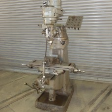 """BRIDGEPORT 1 HP STEP PULLEY TYPE VERTICAL MILLING MACHINE WITH 9"""" x 32"""" TABLE ROUND OVERARM WITH VISE AND TOOLING"""