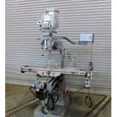 BRIDGEPORT MODEL 2J VERTICAL MILLING MACHINE WITH MITUTOYO DIGITAL READ OUT, SERVO LONGITUDINAL POWER FEED & SERVO POWER CROSS FEED CHROME WAYS NICE!