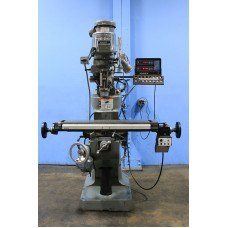 "BRIDGEPORT 2 HP VARIABLE SPEED VERTICAL MILLING MACHINE WITH 9"" x 42"" TABLE, ACU-RITE 2-AXIS DIGITAL READ OUT BRIDGEPORT POWER FEED AND SERVO KNEE FEED NICE!"