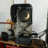 """NIKON 11"""" OPTICAL COMPARATOR MODEL 6C WITH TURRET LENS AND DIGITAL MITUTOYO MICROMETER HEADS NICE"""