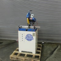 "CTD 12"" MITERING CUT OFF SAW MODEL M25R ON METAL CABINET BASE WITH PNEUMATIC CLAMPING USA MANUFACTURED IN 2013"